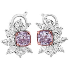 GIA Certified Fancy Pink Diamond Earrings, 2.43 Carat
