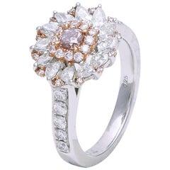 GIA Certified Fancy Pink Diamond Ring Set in 18 Karat White Gold