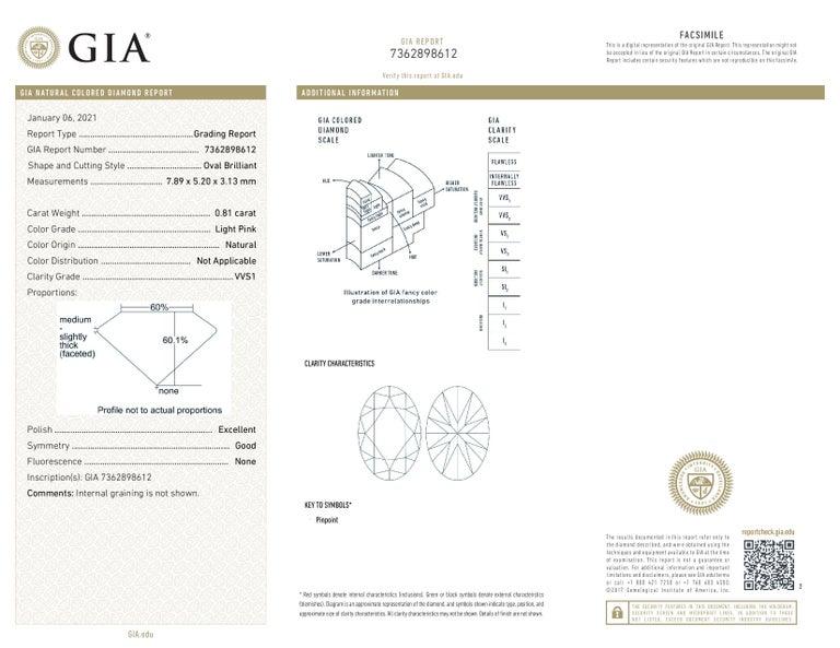 Modern GIA Certified Fancy Pink Oval Diamond 0.81 Carat VVS1 For Sale