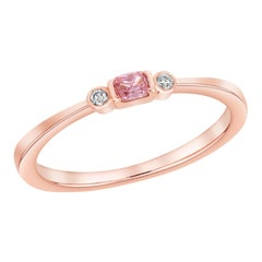 GIA Certified Fancy Purplish Pink Radiant Stackable Band Ring