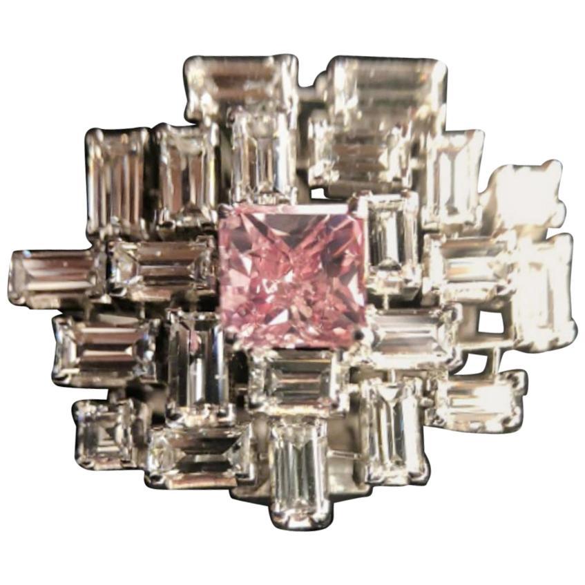 GIA Certified Fancy Vivid Pink Cushion Emerald Cut Diamond Cocktail Ring