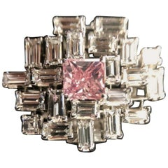 GIA Certified Fancy Vivid Pink Cushion Emerald Cut Diamond Cocktail Ring