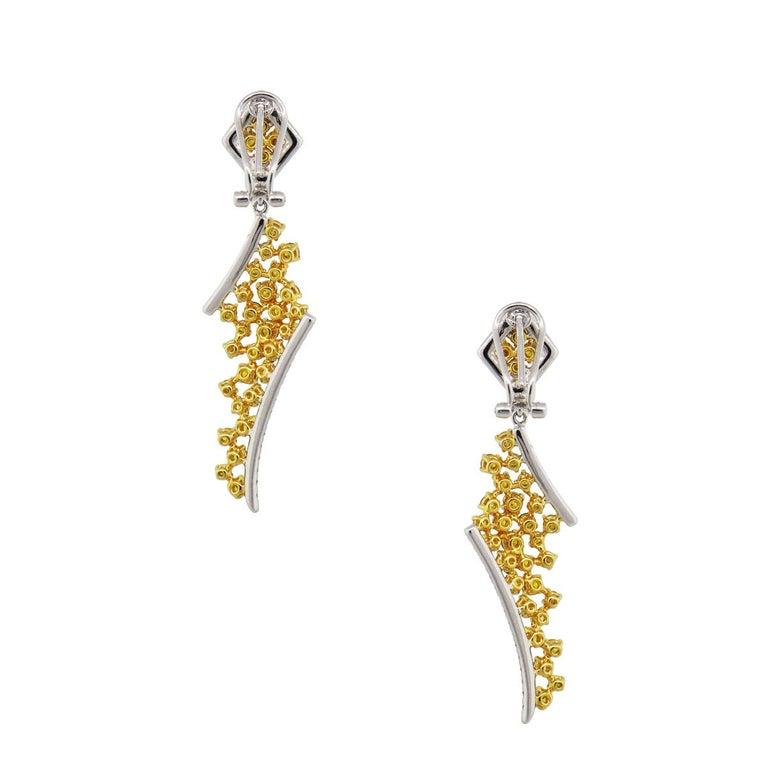 Round Cut GIA Certified Fancy Vivid Yellow Diamond Drop Earrings For Sale