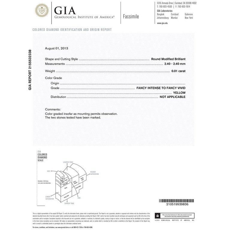 Women's GIA Certified Fancy Vivid Yellow Diamond Drop Earrings For Sale