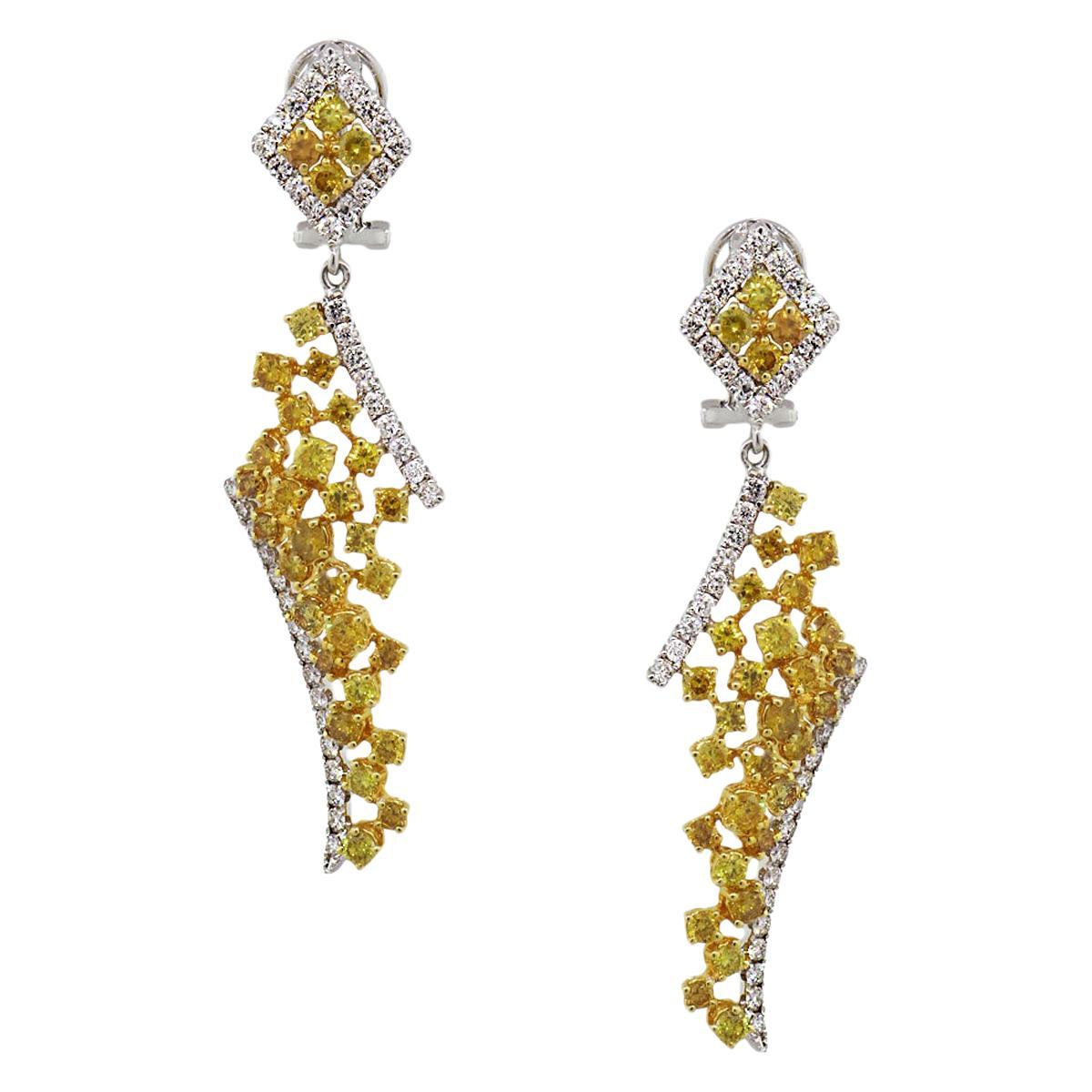 GIA Certified Fancy Vivid Yellow Diamond Drop Earrings