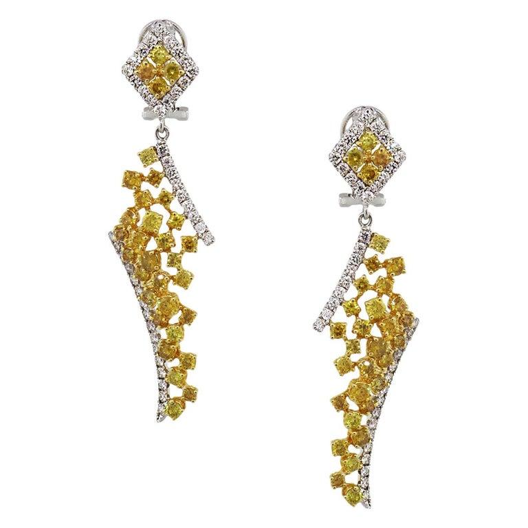 GIA Certified Fancy Vivid Yellow Diamond Drop Earrings For Sale