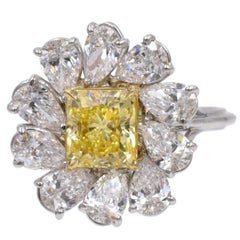 GIA Certified Fancy Vivid Yellow Diamond Ring