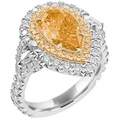 GIA Certified Fancy Vivid Yellowish Orange Pearshape Ring