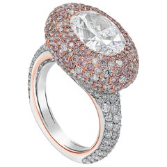 GIA Certified Fancy White and Pink Diamond Dome Cocktail Ring