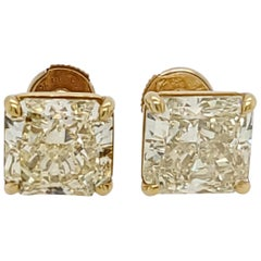 GIA Certified Fancy Yellow 10.31 Carat Radiant Cut Earrings