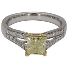 GIA Certified Fancy Yellow 1.08cts Princess Cut & White Diamond Ring 1.32cts TW