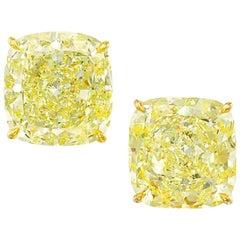 GIA Certified Fancy Yellow 4.38 Carat Cushion Cut Diamond Studs VVS1/VS1