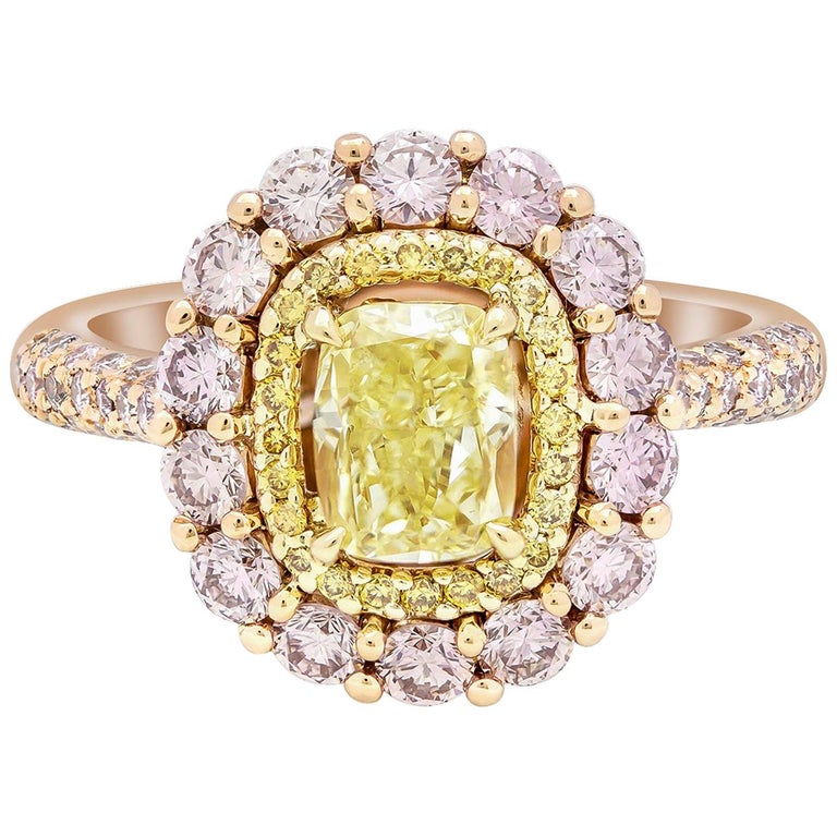 Gia Certified Fancy Yellow And Pink Diamond Halo Engagement Ring For