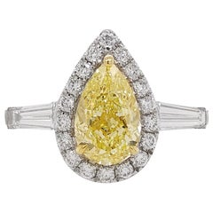 GIA Certified Fancy Yellow Diamond and White Diamond Ring in 18 Karat White Gold