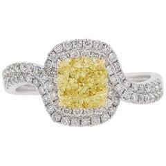GIA Certified Fancy Yellow Diamond and White Diamond Platinum Cocktail Ring