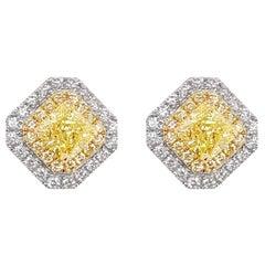 GIA Certified Fancy Yellow Diamond and White Diamond 18K Gold Stud Earrings