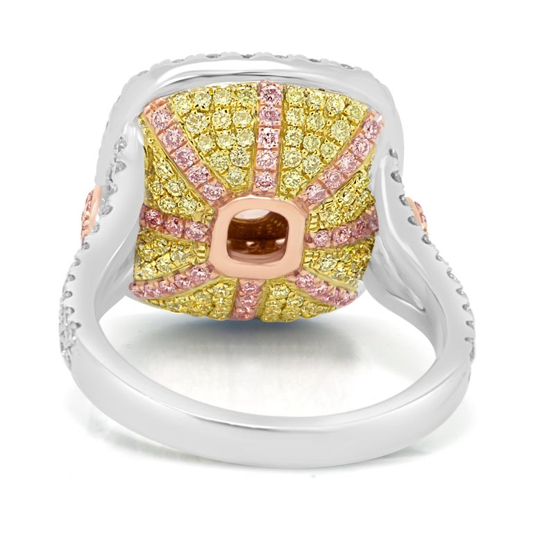 Contemporary GIA Certified Fancy Yellow Diamond Cushion Triple Halo Three-Color Gold Ring For Sale