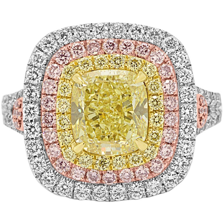 GIA Certified Fancy Yellow Diamond Cushion Triple Halo Three-Color Gold Ring For Sale