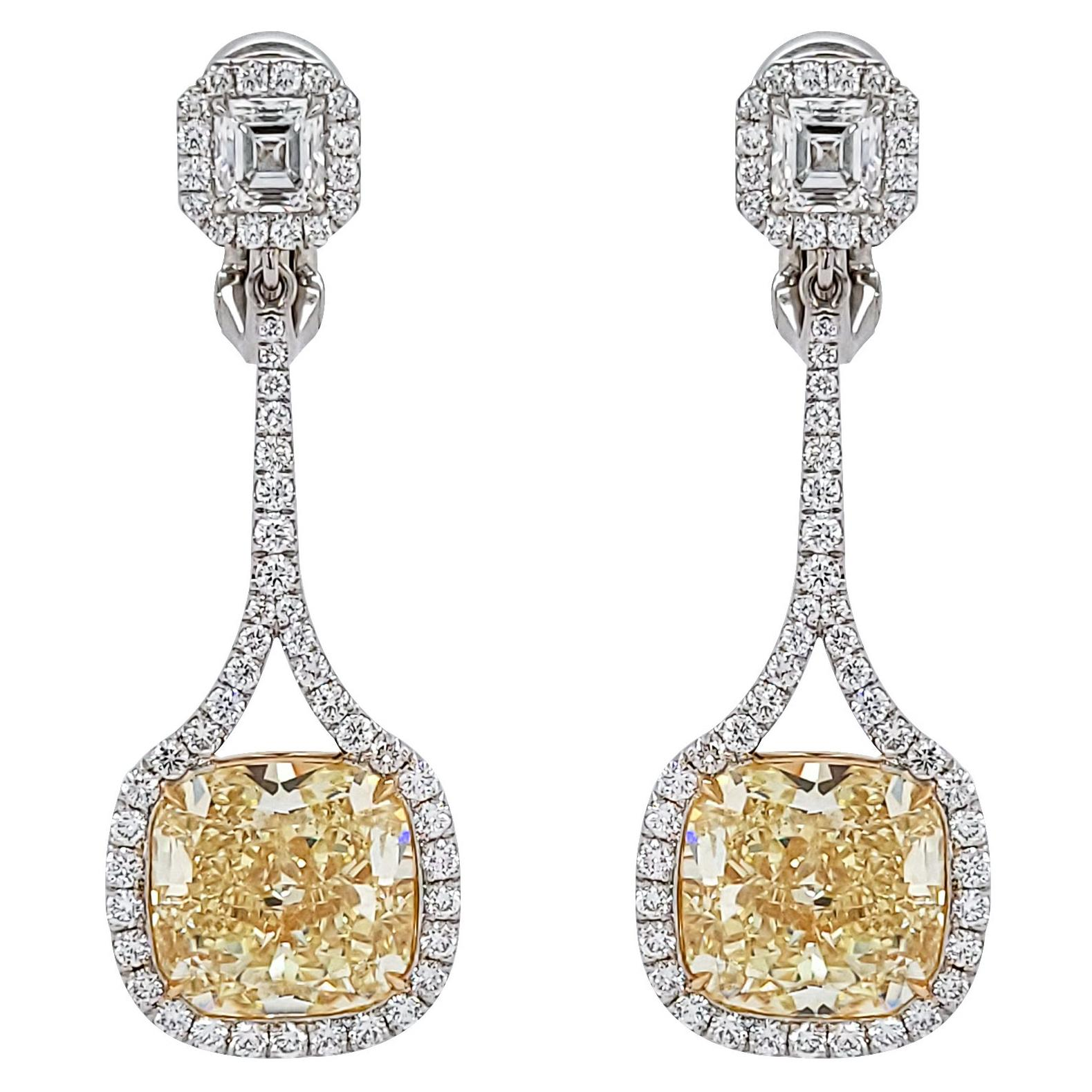 GIA Certified Fancy Yellow Diamond Drop Earrings
