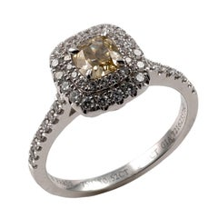 GIA Certified Fancy Yellow Diamond Halo Ring 18 Karat White Gold Full Hallmarks