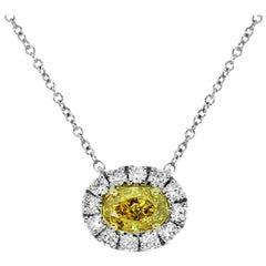 GIA Certified Fancy Yellow Diamond Necklace