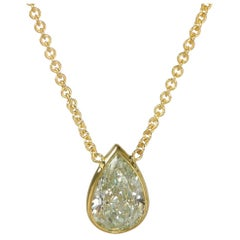 GIA Certified Fancy Yellow Diamond Necklace in 14 Karat Gold SI1 1.61 Carat