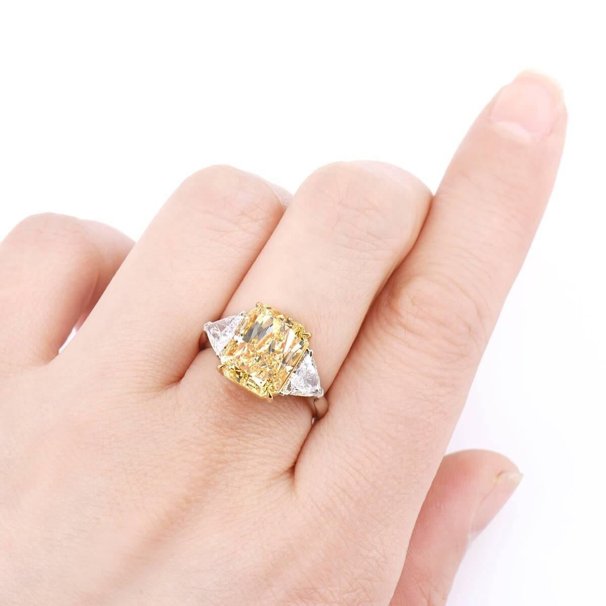 GIA Certified Fancy Yellow 5.75 ct Diamond and 0.94 ct White Diamond ...