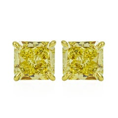GIA Certified Fancy Yellow Diamond Stud Earrings