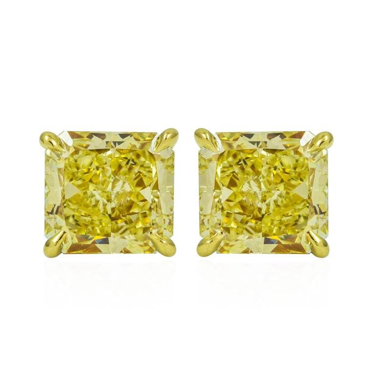 GIA Certified Fancy Yellow Diamond Stud Earrings