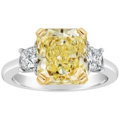 GIA Certified Fancy Yellow Diamond Three-Stone Engagement Ring