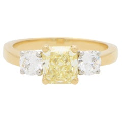 GIA Certified Fancy Yellow Diamond Three Stone Engagement Ring in 18k Gold