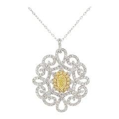 GIA Certified Fancy Yellow Diamond White Diamond in Platinum Pendant with Chain