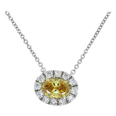 GIA Certified Fancy Yellow Necklace