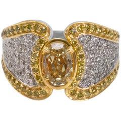GIA Certified Fancy Yellow Oval Diamond Ring in 18 Karat Gold 1.02 Carat