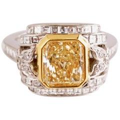 GIA Certified Fancy Yellow Radiant 2.23 Carat Diamond Cocktail Platinum Ring