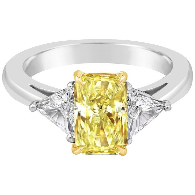 d8b5d6eb01b GIA Certified Fancy Yellow Radiant Cut Diamond Three-Stone Engagement Ring