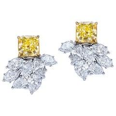 GIA Certified Fancy Yellow Square Cut Diamond Cluster Earrings