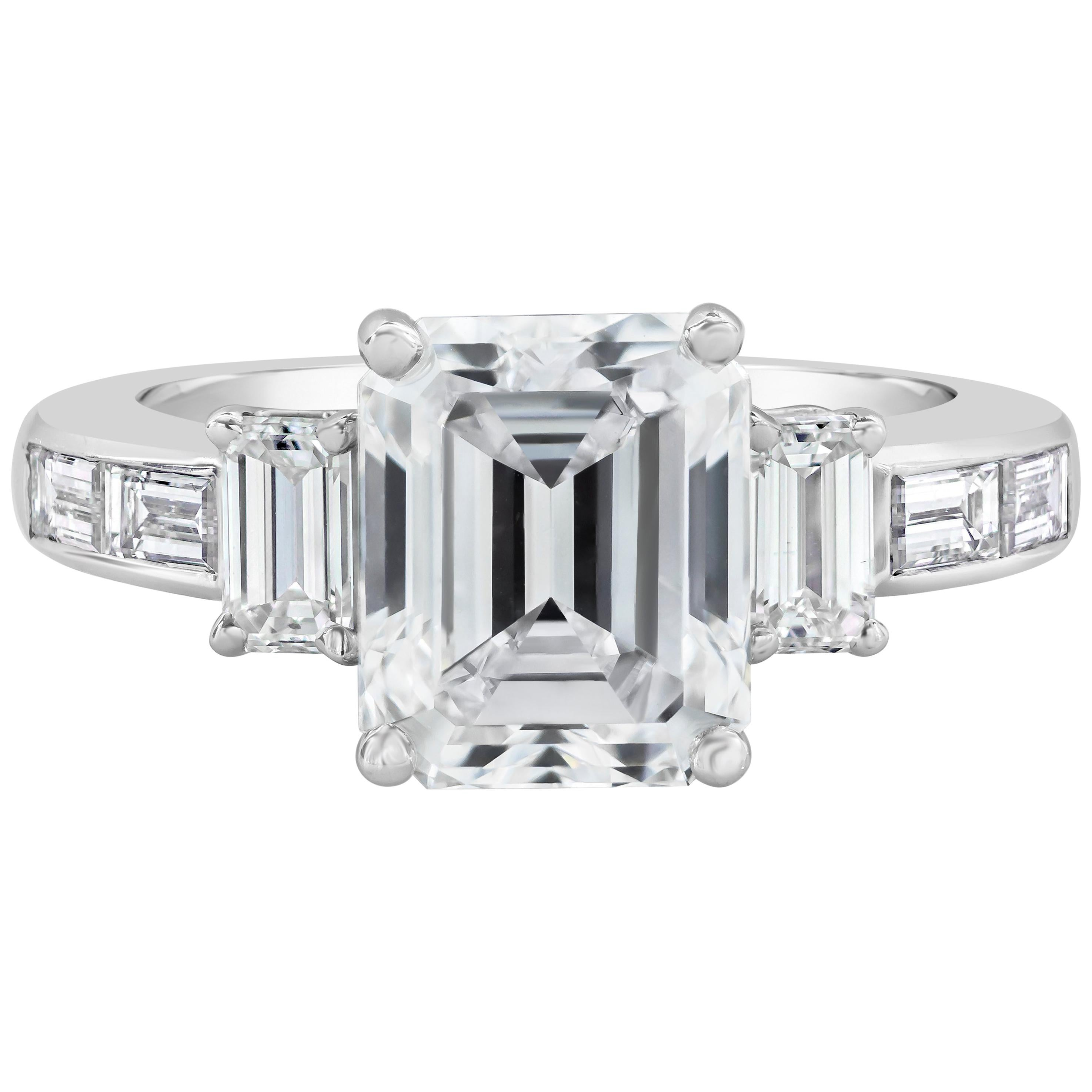 Roman Malakov, GIA Certified Emerald Cut Diamond Three-Stone Engagement Ring