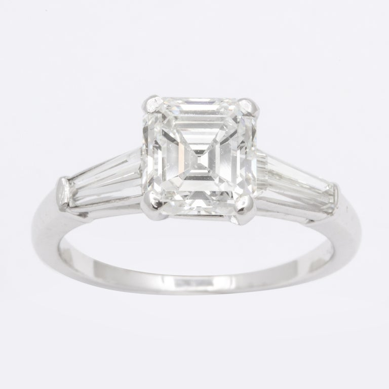 GIA Certified G VVS2 Square Emerald Cut Diamond Platinum Ring In Excellent Condition For Sale In Bal Harbour, FL