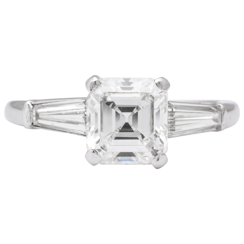 GIA Certified G VVS2 Square Emerald Cut Diamond Platinum Ring