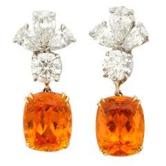GIA Certified Gem Quality Mandarin Garnet Diamond Platinum Earrings