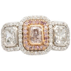 GIA Certified Golconda Pink Diamond .50 Carat Ring with Two D Color Diamonds