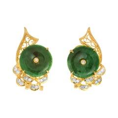GIA Certified Grade A Jadeite Jade Diamond Yellow Gold Earrings