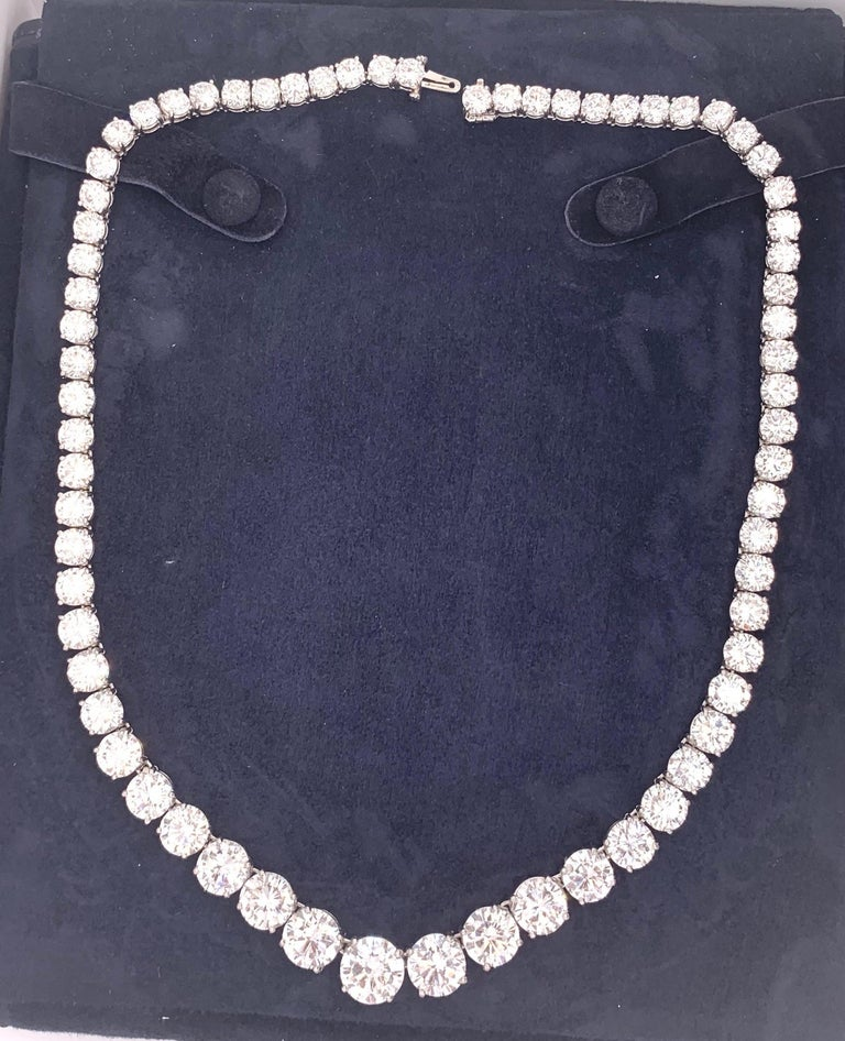 GIA Certified Graduated Riviera Diamond Necklace For Sale 1