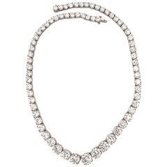 ISSAC NUSSBAUM NEW YORK GIA Certified Graduated Riviera Diamond Necklace