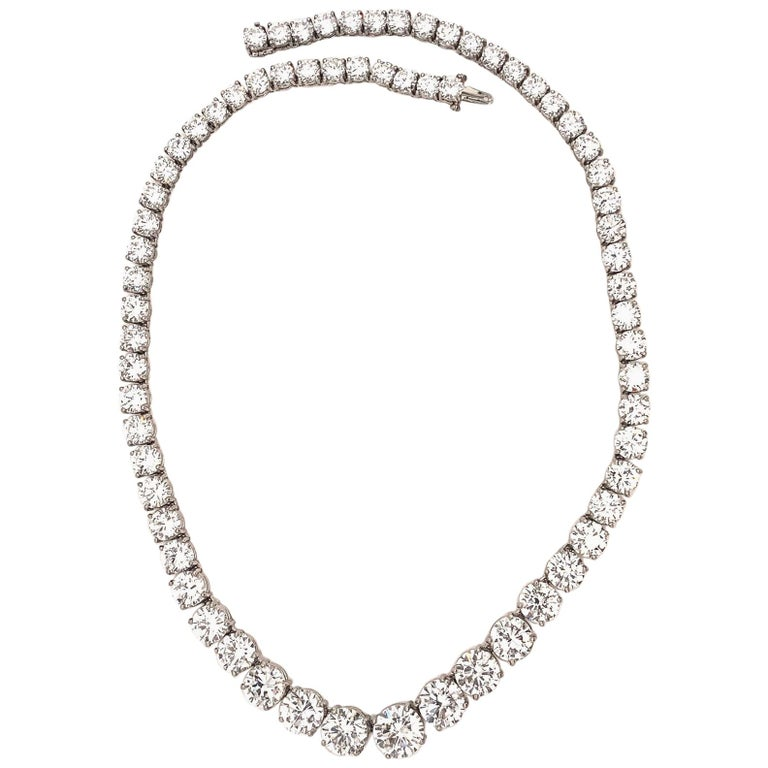 Women's or Men's GIA Certified Graduated Riviera Diamond Necklace For Sale