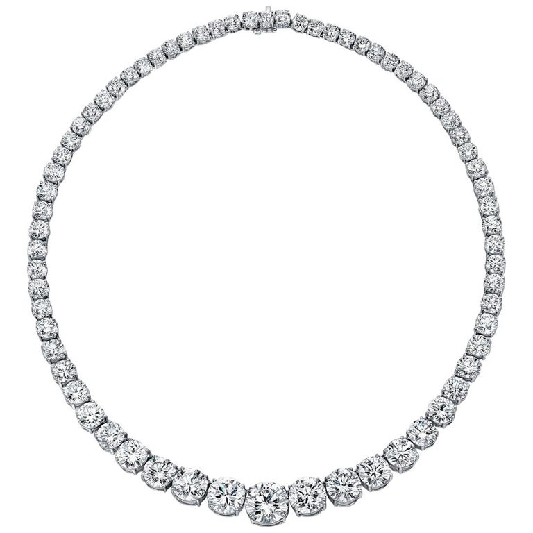 GIA Certified Graduated Riviera Diamond Necklace For Sale
