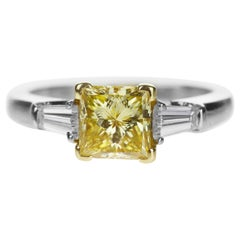 GIA Certified Graff Yellow Diamond 1.07ct Princess Cut Platinum Engagement Ring
