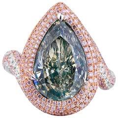 GIA Certified Green Pink White 7.68 Carat Natural Diamond Statement Pear Ring
