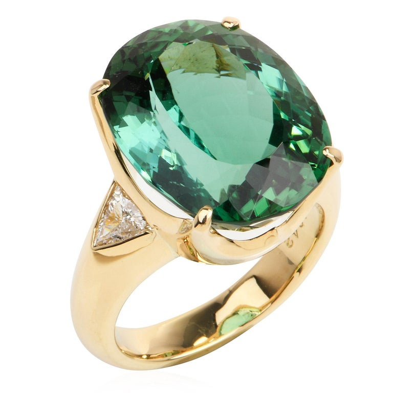 Modern GIA Certified Green Tourmaline Diamond 18k Gold Cocktail Ring For Sale